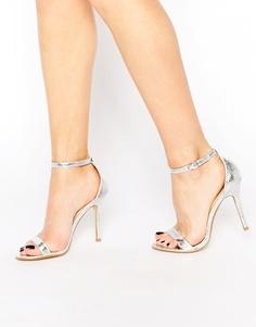 Серебристые сандалии из двух частей на каблуке Glamorous - Серебряный