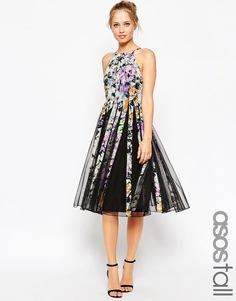 Платье миди с юбкой-годе и цветочным принтом ASOS TALL - Мульти