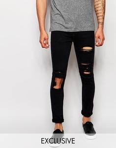 Состаренные джинсы скинни из черного эластичного денима Liquor & Poker - Черный