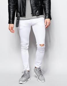 Супероблегающие эластичные белые джинсы с прорехами Religion Vice - Белый