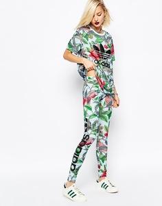 Леггинсы с листиками и логотипом на боку Аdidas Originals Florera - Multicolor Adidas