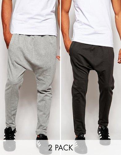 Комплект из 2 пар спортивных штанов с заниженным шаговым швом ASOS,
