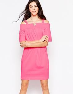 Платье с открытыми плечами и ремешками с пряжками Love Moschino - Розовый