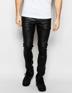 Черные супероблегающие джинсы с покрытием ASOS - Черный