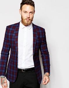 Пиджак скинни с принтом тартан ASOS