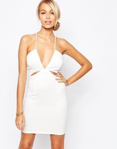 Платье-сорочка с глубоким декольте и вырезами AX Paris - Кремовый
