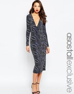Платье миди с глубоким вырезом и блестящим узором ASOS TALL NIGHT - Deco glitter