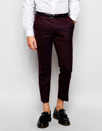 Укороченные зауженные брюки из шерстяного твида Heart & Dagger - Burgundy