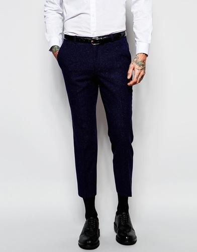 Укороченные зауженные брюки из шерстяной ткани в крапинку Heart & Dagger - Темно-синий