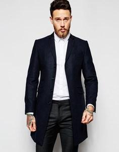 Пальто с бархатной вставкой на воротнике сзади Heart & Dagger - Темно-синий