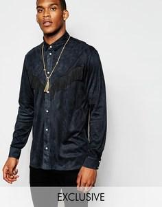 Ковбойская рубашка из искусственной замши с бахромой Reclaimed Vintage - Черный