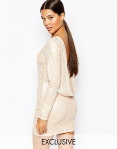 Платье мини с пайетками и вырезом-хомутиком сзади Club L - Gold blush