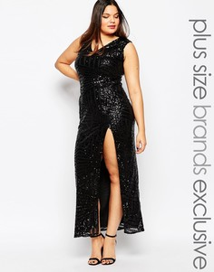 Платье макси размера плюс с пайетками Club L - Черный
