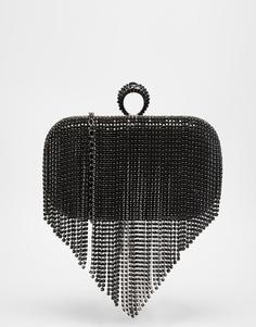 Клатч-футляр со стразами и бахромой ALDO - Черный/цвет пушечной бронзы