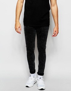 Черные супероблегающие джинсы с эффектом кислотной стирки ASOS - Выбеленный черный