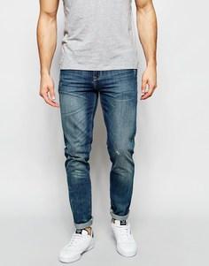 Выбеленные джинсы скинни с зеленоватым отливом ASOS - Умеренный синий