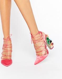 Туфли на каблуке с заостренным носком и шнуровкой ASOS PRINCIPAL - Розовый