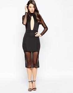 Платье миди с вырезом капелькой и полупрозрачными вставками Oh My Love - Черный