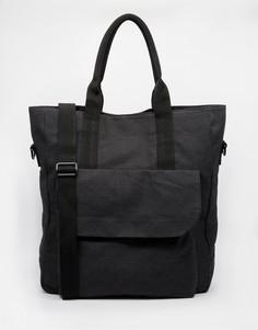 Черная парусиновая сумка-тоут ASOS - Черный