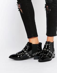 Ботинки с люверсами ASOS ANCESTOR - Черный лакированный
