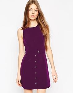 Трапециевидное платье на кнопках ASOS - Фиолетовый