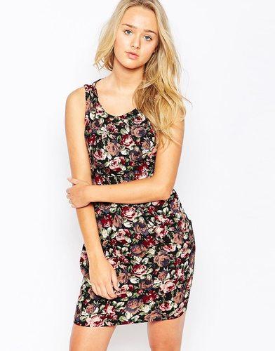 Платье с принтом роз и завязкой сзади Iska - Черный