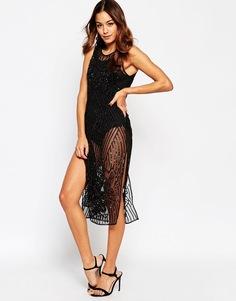 Платье миди с пайетками и отделкой ASOS - Черный
