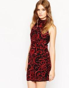 Короткое платье-майка с высоким воротом и отделкой ASOS Premium - Красный