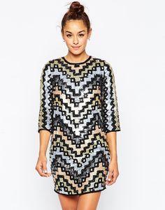 Цельнокройное платье мини с геометрическим узором из пайеток ASOS - Мульти