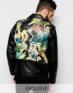 Байкерская куртка из мягкой кожи с цветами на спине Reclaimed Vintage - Черный