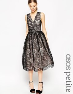 Платье миди для выпускного с контрастным кружевом ASOS PETITE Premium - Черный