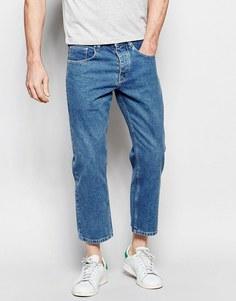 Прямые укороченные джинсы ASOS - Светло-голубой
