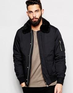 Куртка-пилот с воротником из искусственного меха Schott - Черный