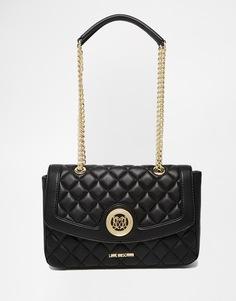 Черная стеганая сумка на плечо Love Moschino - 000 черный