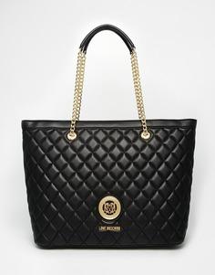 Черная стеганая сумка‑тоут Love Moschino - 000 черный