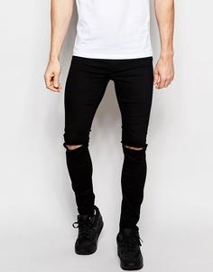 Черные джинсовые меггинсы с рваными коленями ASOS - Черный