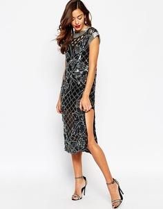 Платье миди с вырезами и цветочным принтом ASOS RED CARPET - Черный