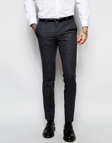 Зауженные клетчатые брюки Heart & Dagger - Серый