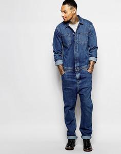 Умеренно-синий выбеленный джинсовый комбинезон ASOS - Умеренный синий