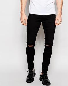 Черные рваные джинсы с покрытием ASOS - Черный