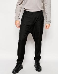 Укороченные брюки с заниженным шаговым швом и карманами ASOS - Черный