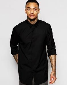 Длинная черная рубашка с воротником под замшу ASOS - Черный