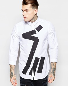 Рубашка с абстрактным принтом и длинными рукавами ASOS - Белый