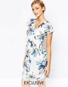 Платье-футляр с запахом и складками Closet - Сине-зеленый цветочный принт