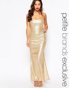 Расшитое пайетками длинное платье бандо Lipstick Boutique Petite - Золотой