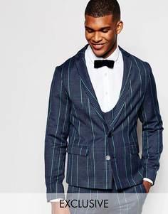 Твидовый пиджак кроя слим Reclaimed Vintage - Темно-синий
