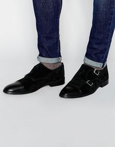 Черные замшевые монки с кожаной вставкой на носке ASOS - Черный