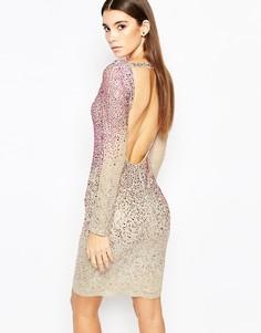Платье с длинными рукавами и отделкой стразами WOW Couture - Multi faded