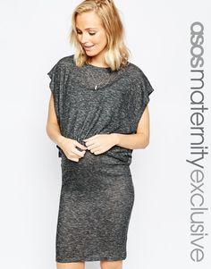 Прямое двухслойное платье для беременных ASOS Maternity NURSING - Серый меланж