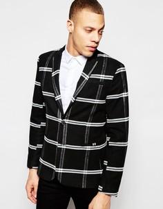 Облегающий пиджак в клетку ASOS - Черный